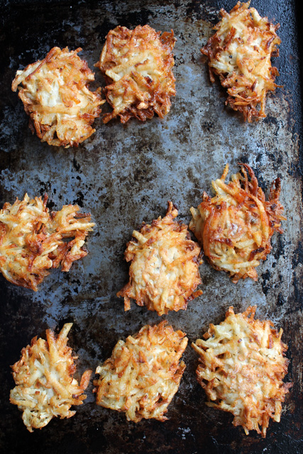 celeriac potato pancakes on griddle